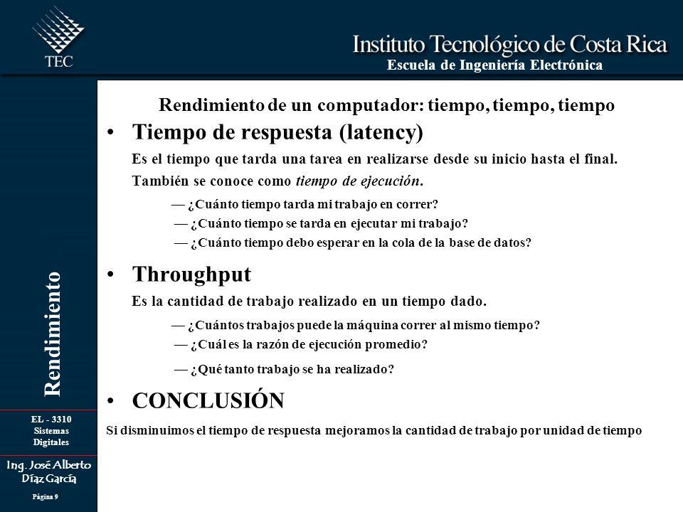 EL - 3310 Sistemas Digitales Ing. José Alberto Díaz García Escuela de Ingeniería Electrónica Rendimiento Página 9 Tiempo de respuesta (latency) Es el