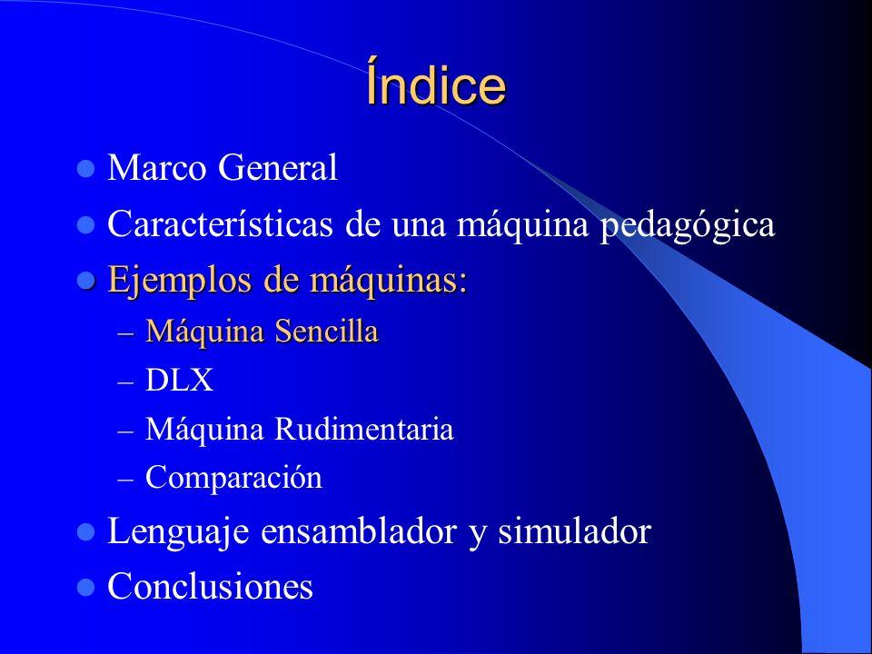 Índice Marco General Características de una máquina pedagógica Ejemplos de máquinas: Ejemplos de máquinas: – Máquina Sencilla – DLX – Máquina Rudiment