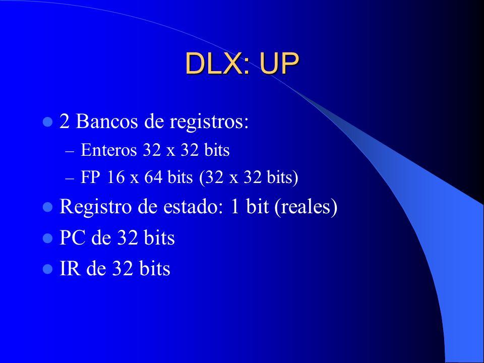 DLX: UP 2 Bancos de registros: – Enteros 32 x 32 bits – FP 16 x 64 bits (32 x 32 bits) Registro de estado: 1 bit (reales) PC de 32 bits IR de 32 bits