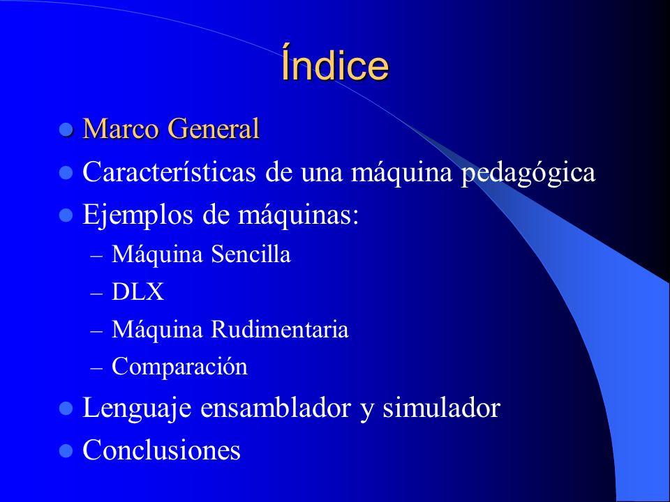 Índice Marco General Marco General Características de una máquina pedagógica Ejemplos de máquinas: – Máquina Sencilla – DLX – Máquina Rudimentaria – C