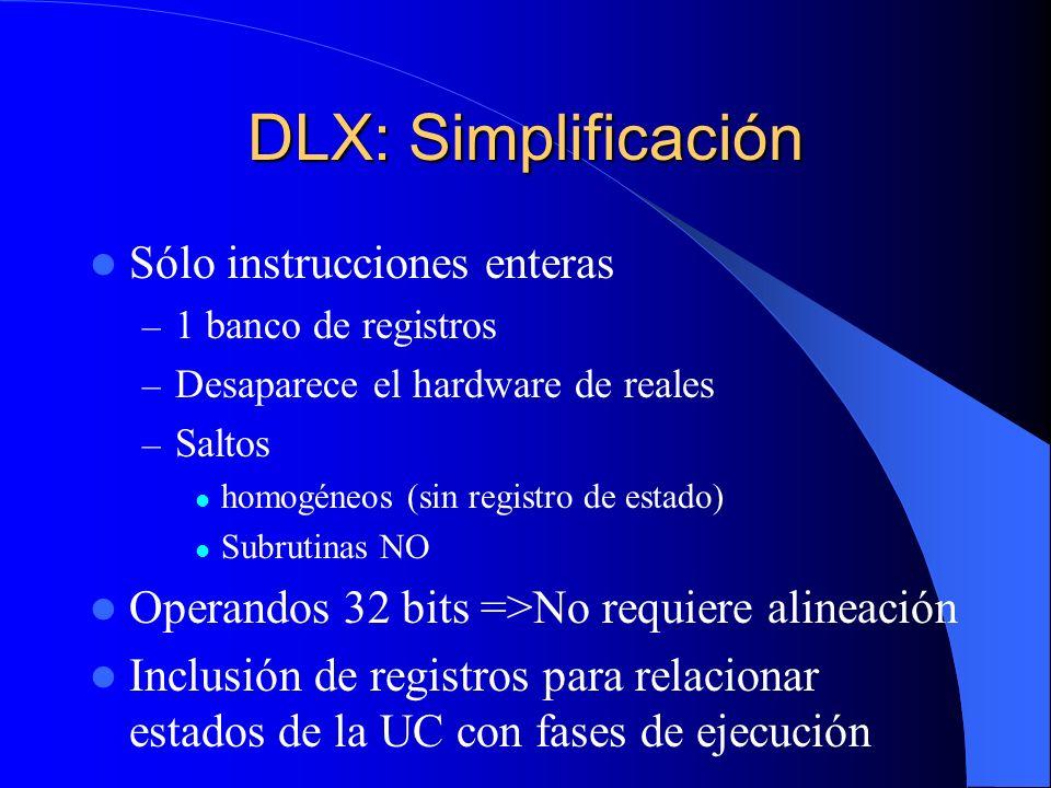 DLX: Simplificación Sólo instrucciones enteras – 1 banco de registros – Desaparece el hardware de reales – Saltos homogéneos (sin registro de estado)