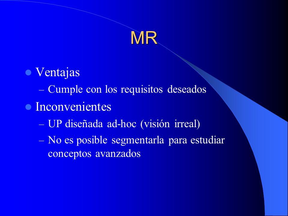 MR Ventajas – Cumple con los requisitos deseados Inconvenientes – UP diseñada ad-hoc (visión irreal) – No es posible segmentarla para estudiar concept