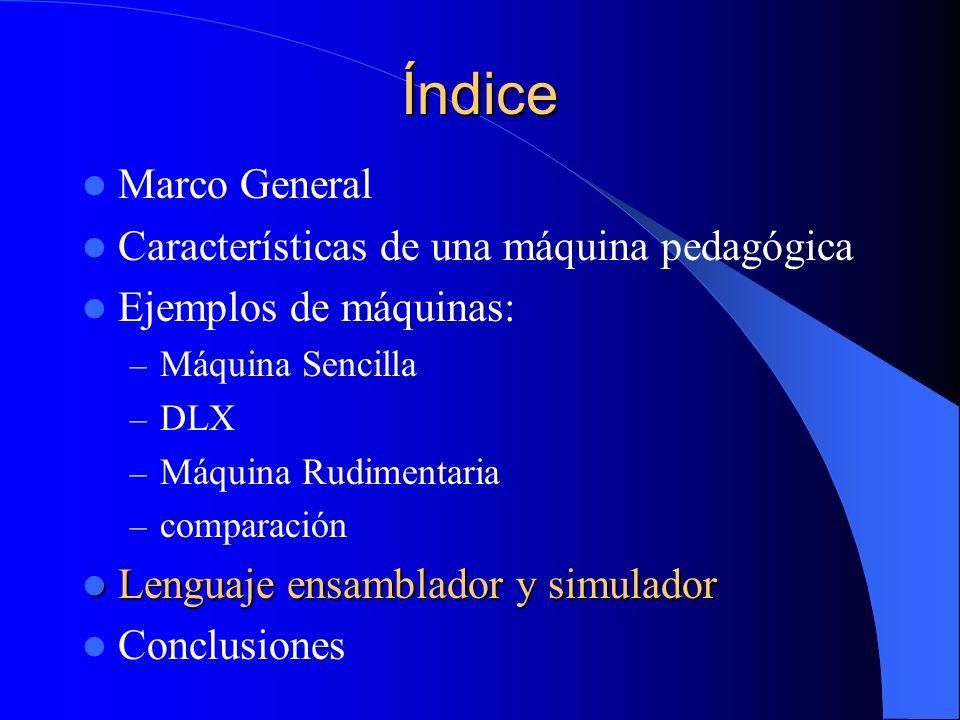 Índice Marco General Características de una máquina pedagógica Ejemplos de máquinas: – Máquina Sencilla – DLX – Máquina Rudimentaria – comparación Len