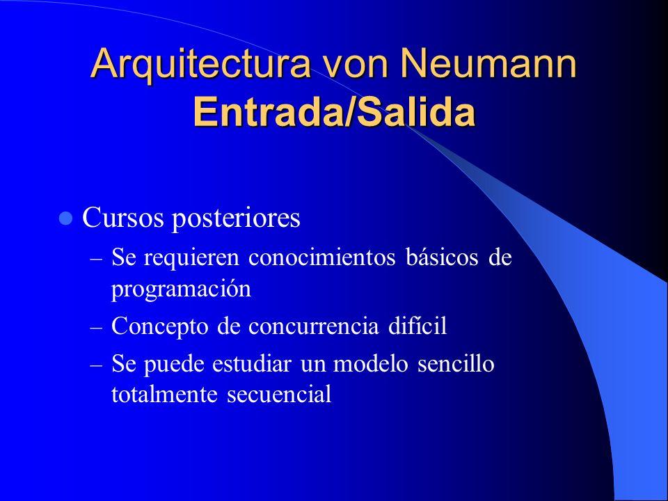 Arquitectura von Neumann Entrada/Salida Cursos posteriores – Se requieren conocimientos básicos de programación – Concepto de concurrencia difícil – S