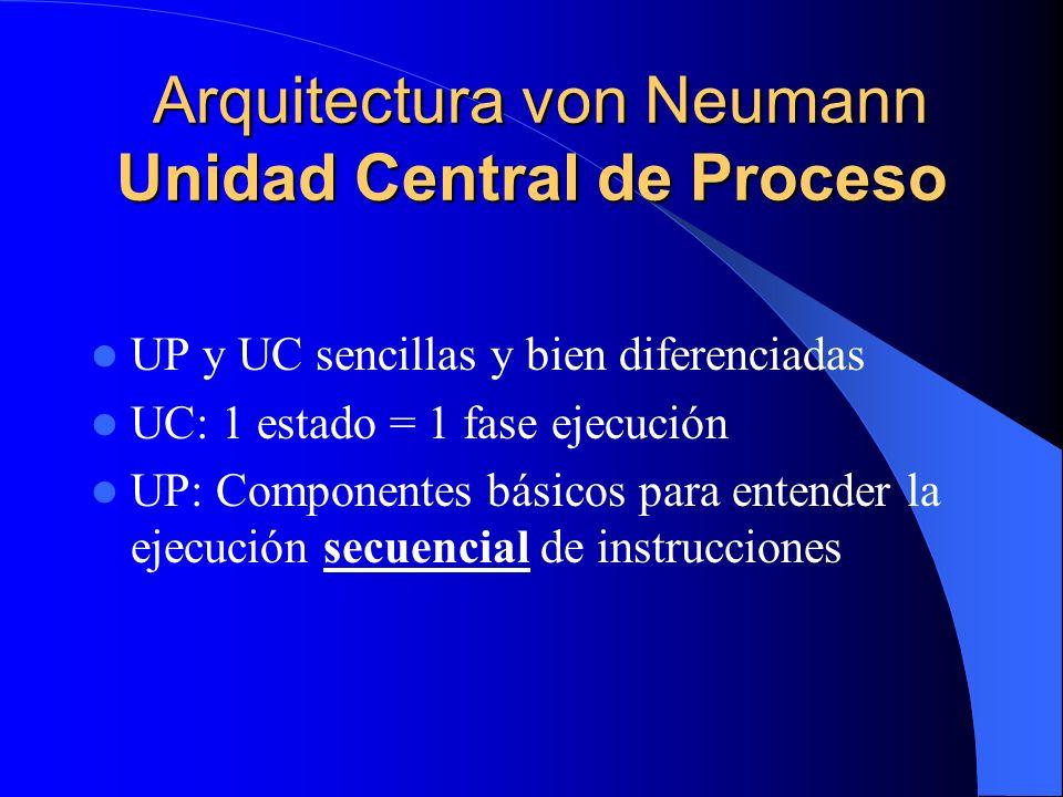 Arquitectura von Neumann Unidad Central de Proceso Arquitectura von Neumann Unidad Central de Proceso UP y UC sencillas y bien diferenciadas UC: 1 est