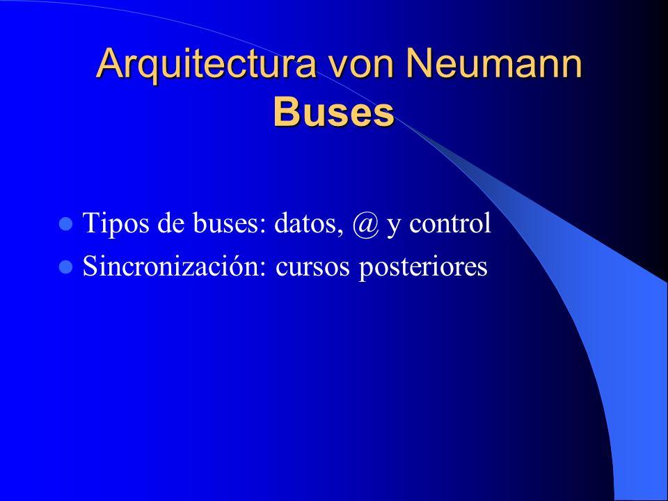 Arquitectura von Neumann Buses Arquitectura von Neumann Buses Tipos de buses: datos, @ y control Sincronización: cursos posteriores