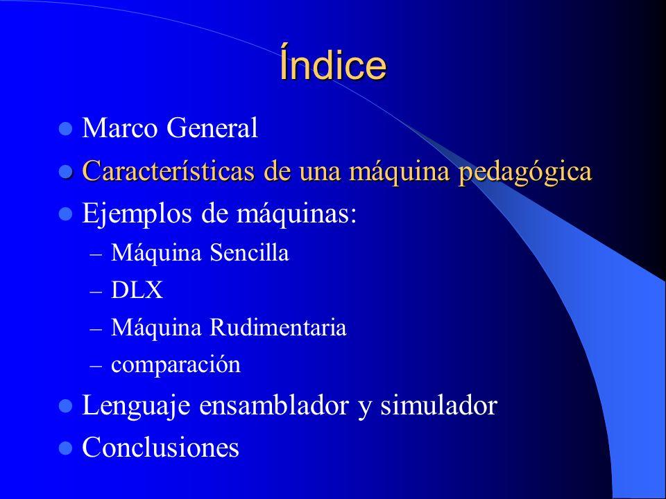Índice Marco General Características de una máquina pedagógica Características de una máquina pedagógica Ejemplos de máquinas: – Máquina Sencilla – DL