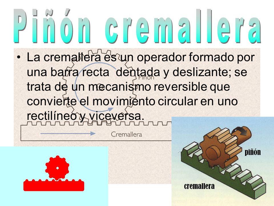 La cremallera es un operador formado por una barra recta dentada y deslizante; se trata de un mecanismo reversible que convierte el movimiento circula