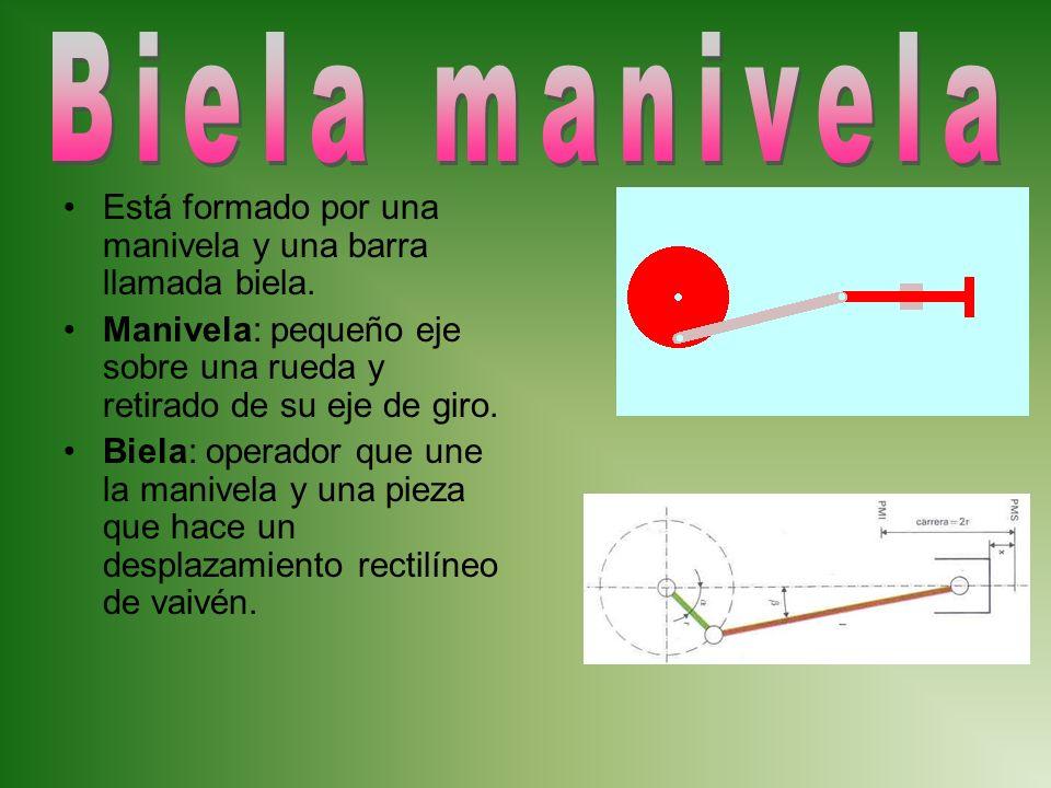 Está formado por una manivela y una barra llamada biela. Manivela: pequeño eje sobre una rueda y retirado de su eje de giro. Biela: operador que une l