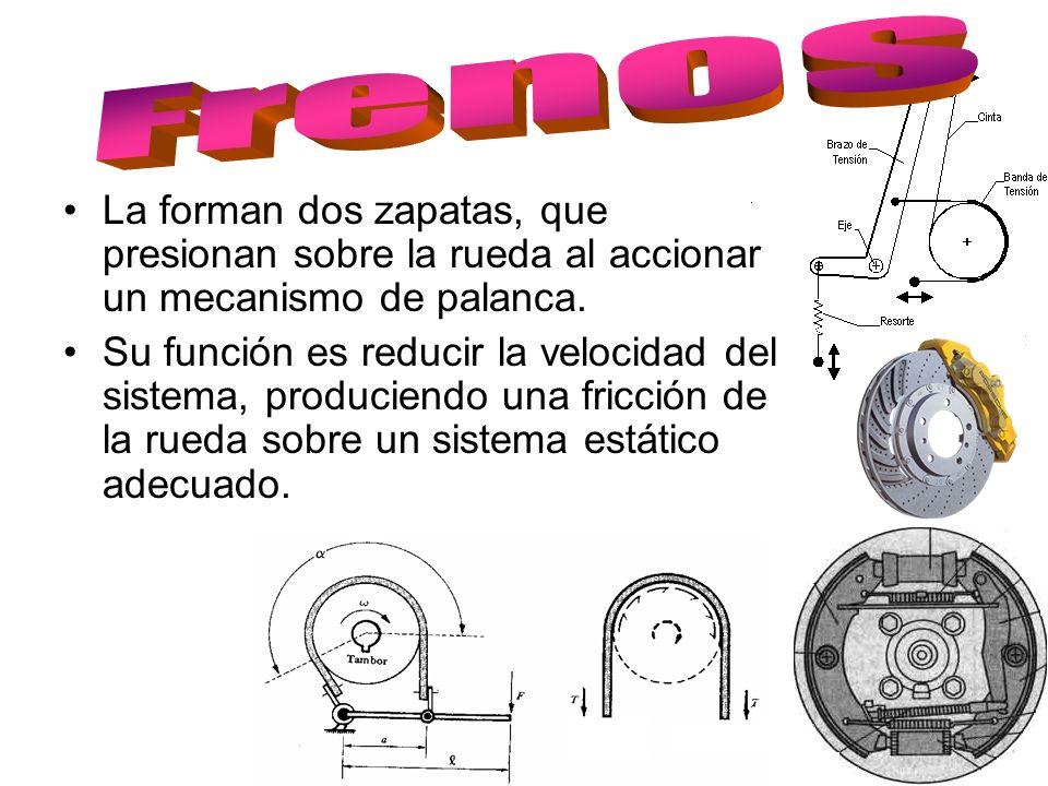 La forman dos zapatas, que presionan sobre la rueda al accionar un mecanismo de palanca. Su función es reducir la velocidad del sistema, produciendo u