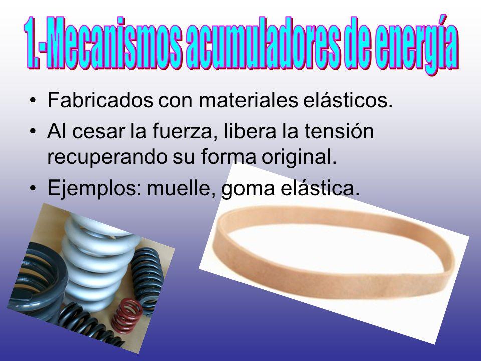 Fabricados con materiales elásticos. Al cesar la fuerza, libera la tensión recuperando su forma original. Ejemplos: muelle, goma elástica.