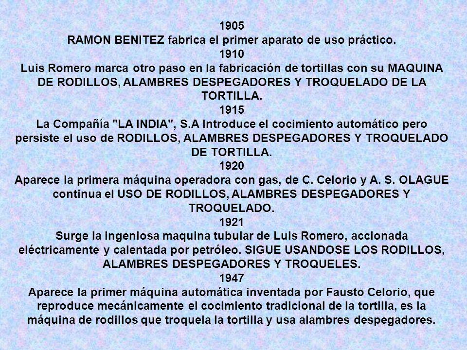 1905 RAMON BENITEZ fabrica el primer aparato de uso práctico. 1910 Luis Romero marca otro paso en la fabricación de tortillas con su MAQUINA DE RODILL