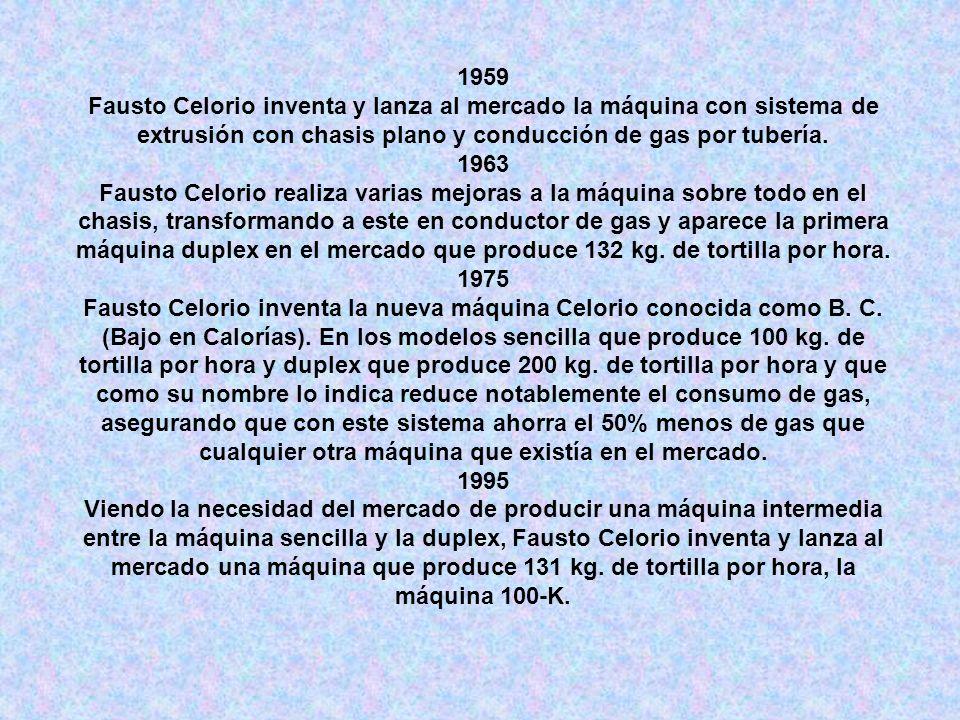 1959 Fausto Celorio inventa y lanza al mercado la máquina con sistema de extrusión con chasis plano y conducción de gas por tubería. 1963 Fausto Celor