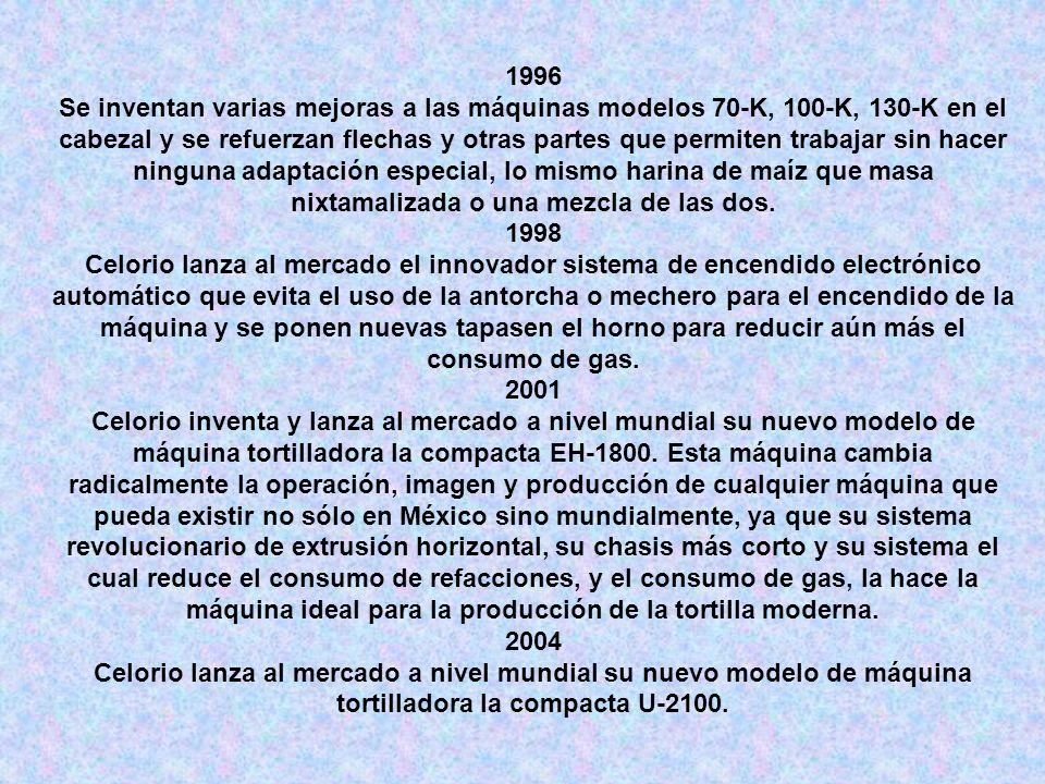 1996 Se inventan varias mejoras a las máquinas modelos 70-K, 100-K, 130-K en el cabezal y se refuerzan flechas y otras partes que permiten trabajar si