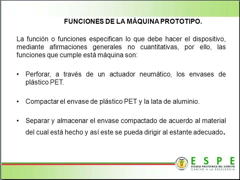 FUNCIONES DE LA MÁQUINA PROTOTIPO. La función o funciones especifican lo que debe hacer el dispositivo, mediante afirmaciones generales no cuantitativ