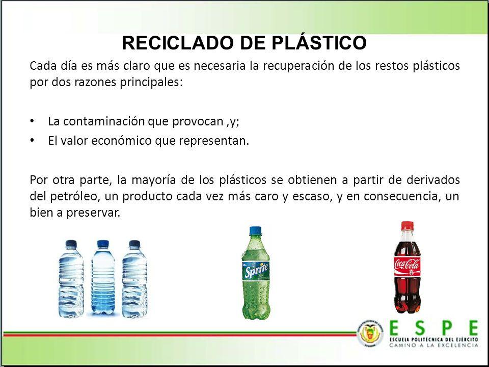 RECICLADO DE PLÁSTICO Cada día es más claro que es necesaria la recuperación de los restos plásticos por dos razones principales: La contaminación que