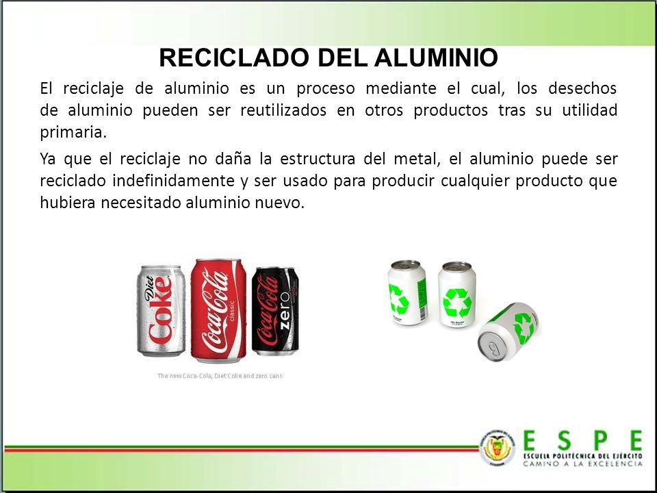RECICLADO DEL ALUMINIO El reciclaje de aluminio es un proceso mediante el cual, los desechos de aluminio pueden ser reutilizados en otros productos tr