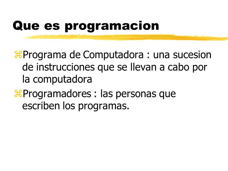 Que es programacion zComputadora: dispositivo programable que puede almacenar, retirar y procesar data. zProgramacion de Computadora : Es el proceso d