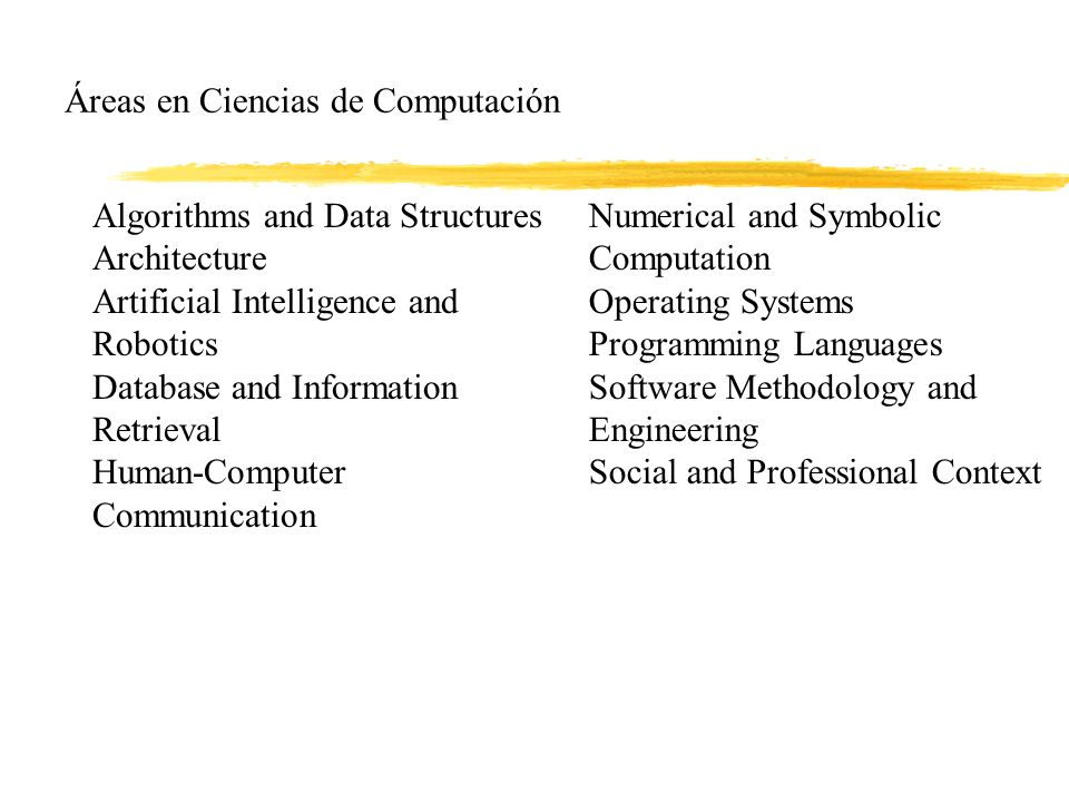 Áreas en Ciencias de Computación Algorithms and Data Structures Architecture Artificial Intelligence and Robotics Database and Information Retrieval Human-Computer Communication Numerical and Symbolic Computation Operating Systems Programming Languages Software Methodology and Engineering Social and Professional Context