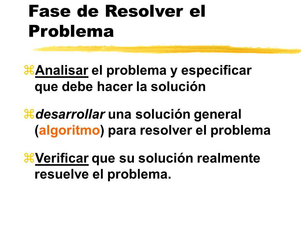 Fases en el ciclo de vida de programación 1 Problem- Solving(resolver el problema) 2 Implemantación 3 Mantenimiento