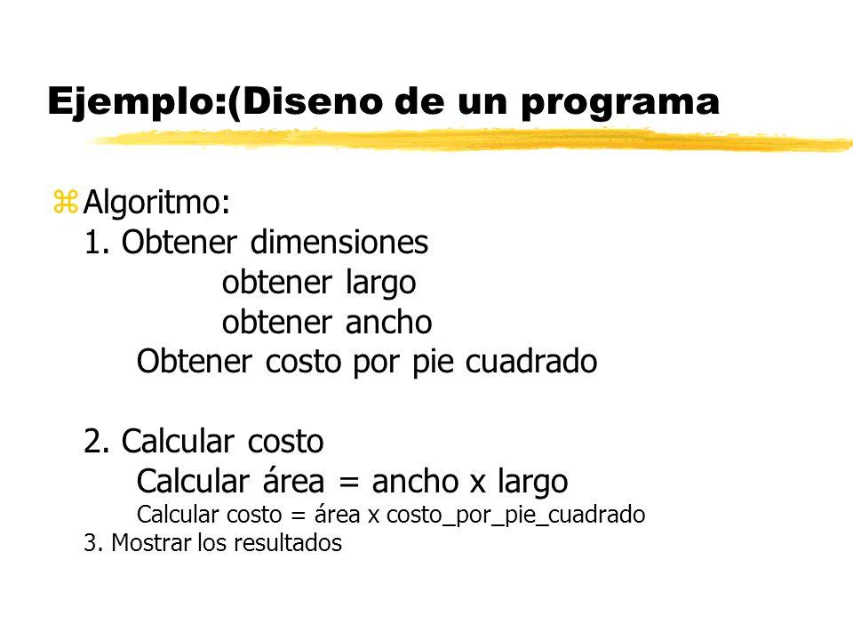 Ejemplo:(Diseno de un programa zPzProblema : Se quiere determinarel costo de alfombrar un área rectngular. zAzAnálisis : Entrada: 1. Dimensiones(pies