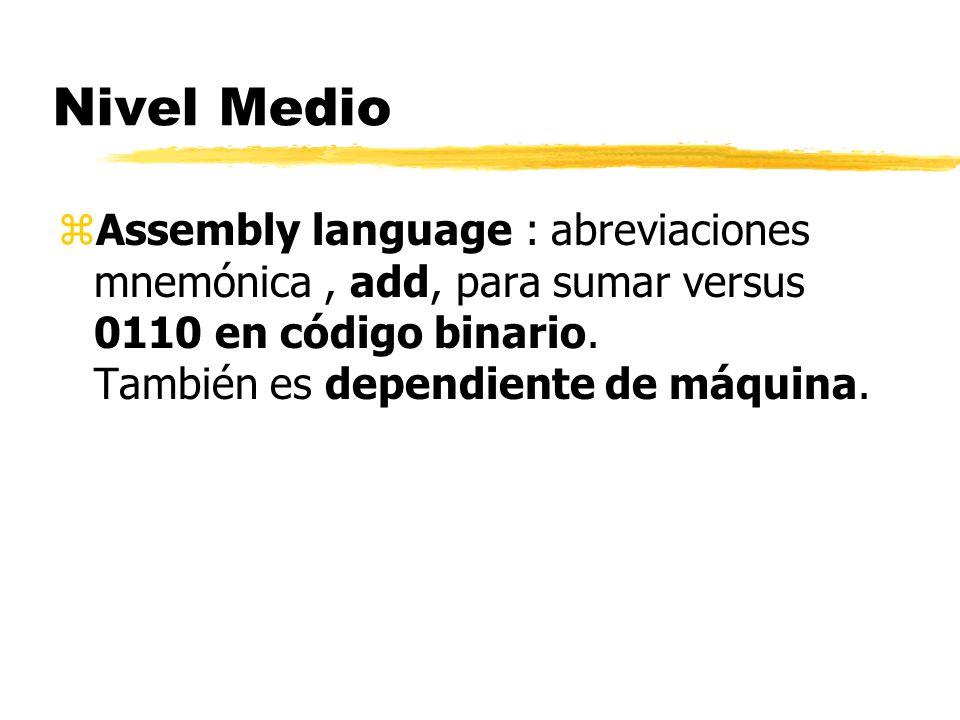 Características de Lenguaje de Máquina (bajo nivel, low level) z