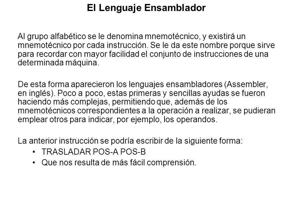 El Lenguaje Ensamblador Al grupo alfabético se le denomina mnemotécnico, y existirá un mnemotécnico por cada instrucción. Se le da este nombre porque