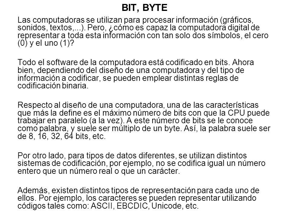 BIT, BYTE Las computadoras se utilizan para procesar información (gráficos, sonidos, textos,...). Pero, ¿cómo es capaz la computadora digital de repre