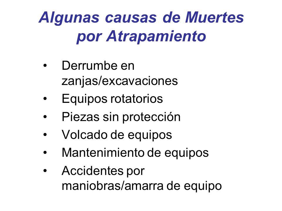 Algunas causas de Muertes por Atrapamiento Derrumbe en zanjas/excavaciones Equipos rotatorios Piezas sin protección Volcado de equipos Mantenimiento de equipos Accidentes por maniobras/amarra de equipo