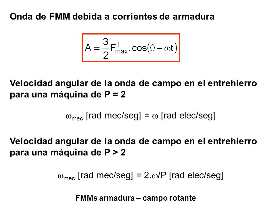 FMMs armadura – campo rotante mec [rad mec/seg] = [rad elec/seg] Velocidad angular de la onda de campo en el entrehierro para una máquina de P = 2 mec