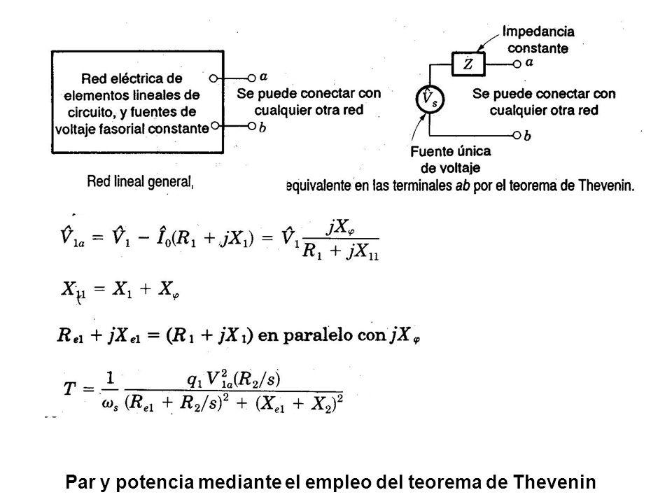Par y potencia mediante el empleo del teorema de Thevenin