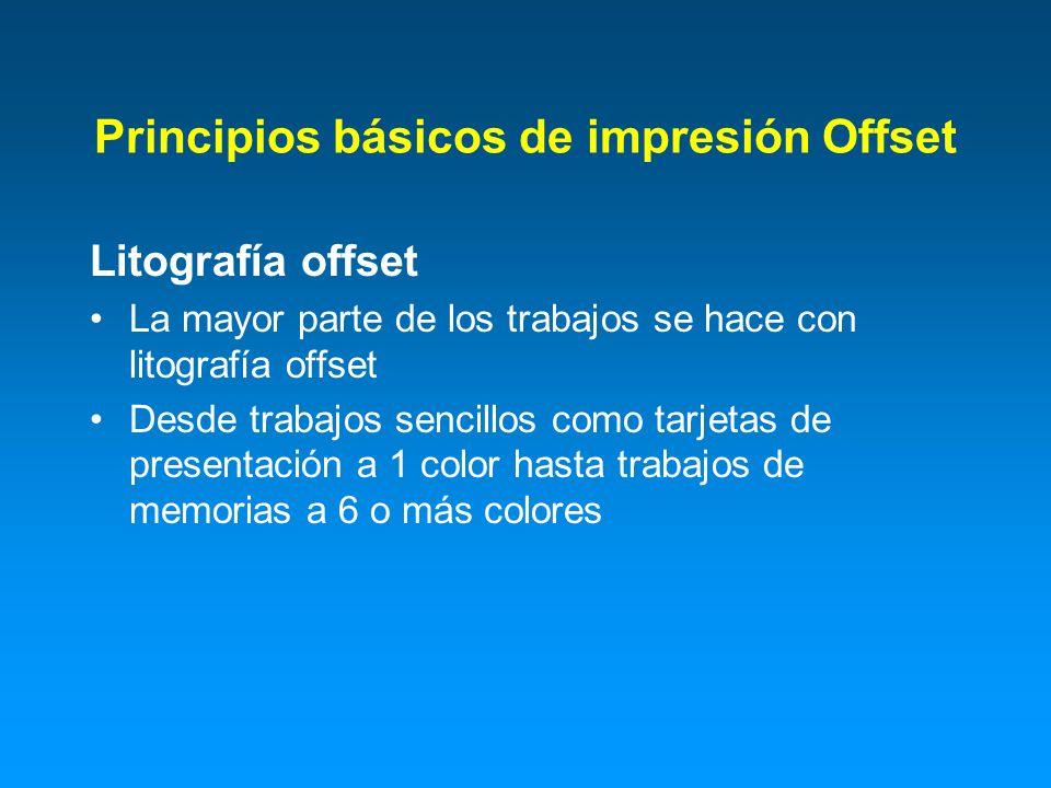 Principios básicos de impresión Offset Litografía offset La mayor parte de los trabajos se hace con litografía offset Desde trabajos sencillos como ta