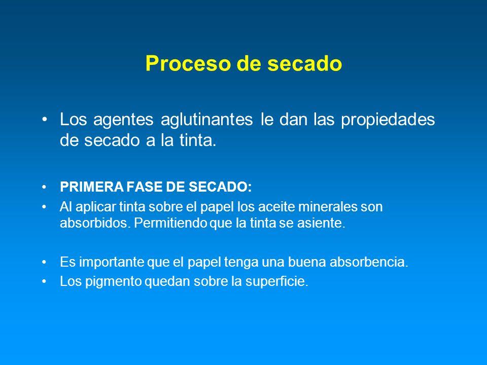 Proceso de secado Los agentes aglutinantes le dan las propiedades de secado a la tinta. PRIMERA FASE DE SECADO: Al aplicar tinta sobre el papel los ac