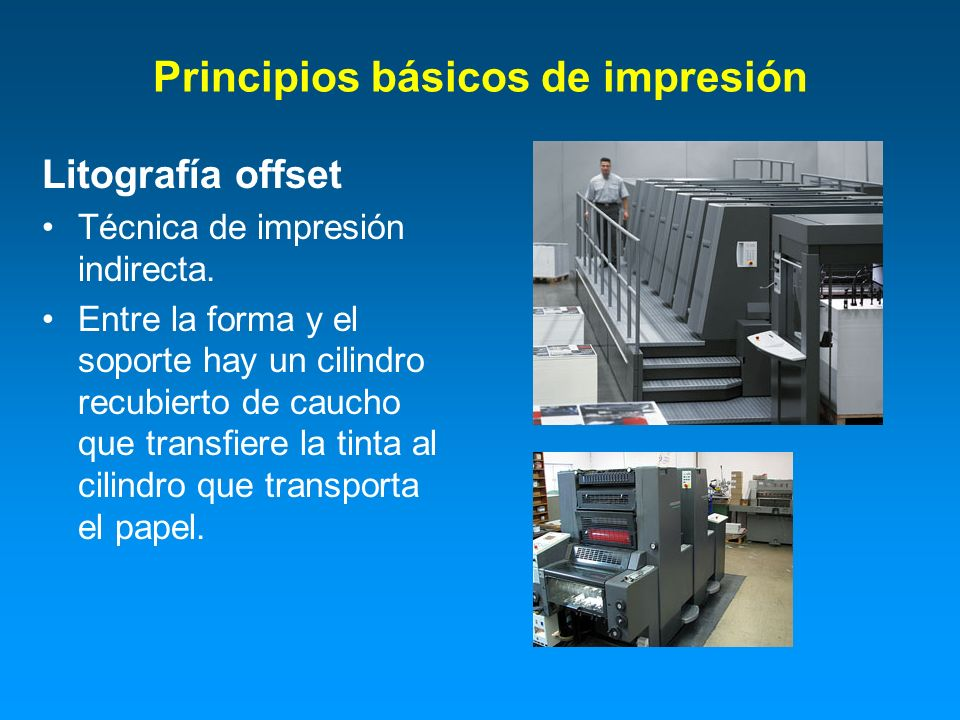 Principios básicos de impresión Litografía offset Técnica de impresión indirecta. Entre la forma y el soporte hay un cilindro recubierto de caucho que