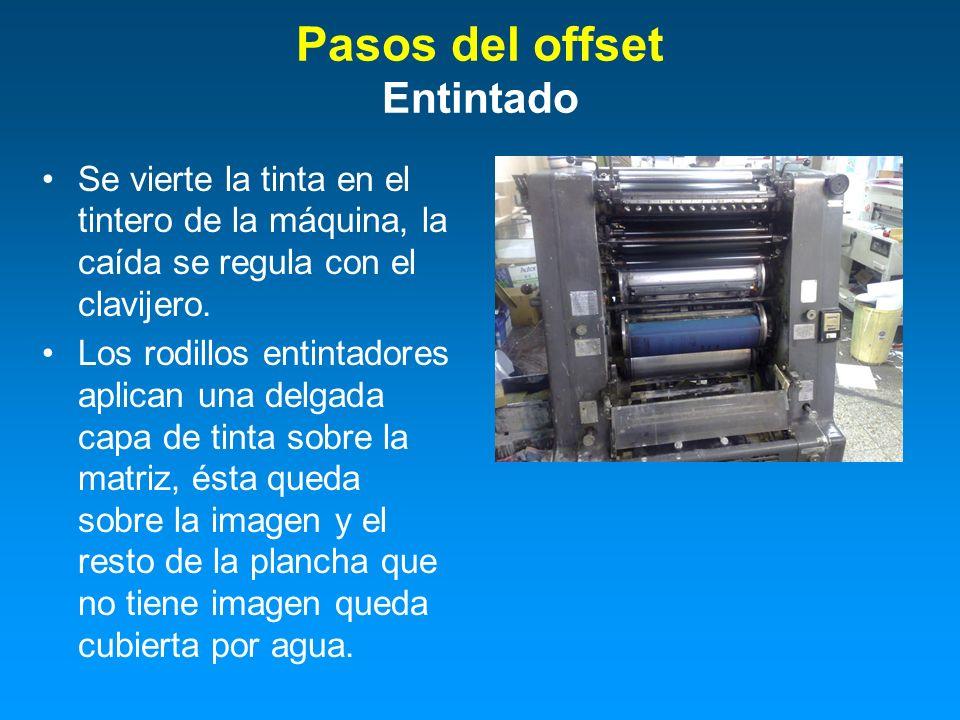 Se vierte la tinta en el tintero de la máquina, la caída se regula con el clavijero. Los rodillos entintadores aplican una delgada capa de tinta sobre