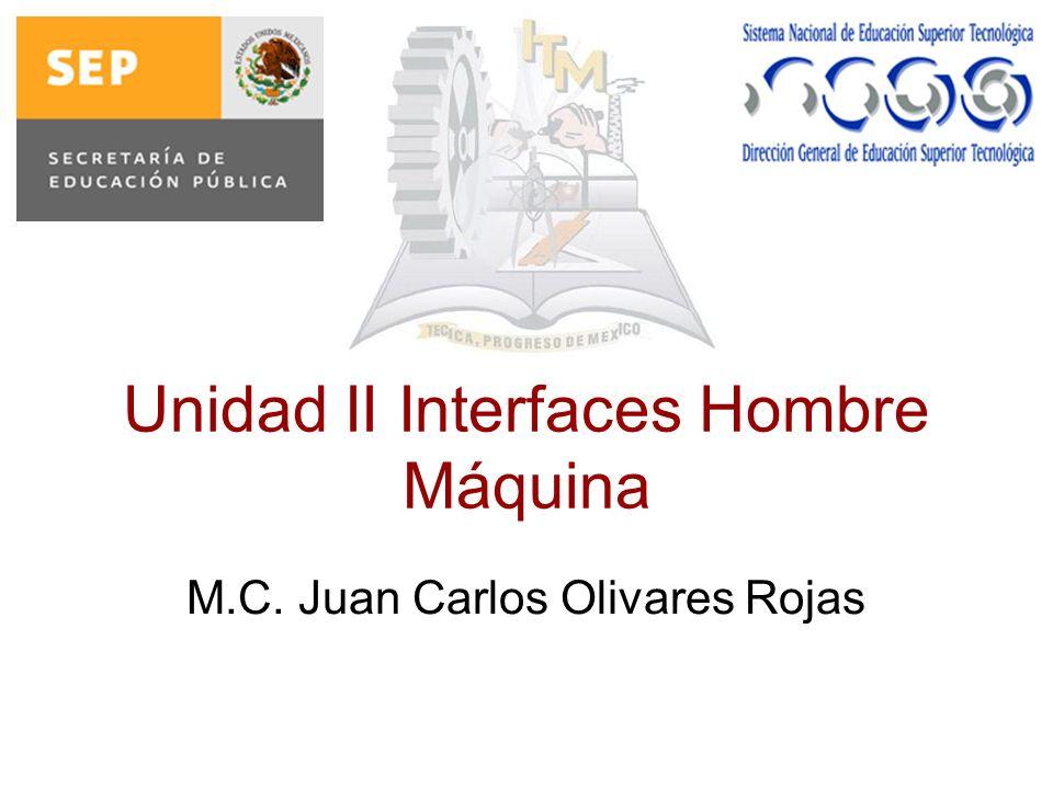 Unidad II Interfaces Hombre Máquina M.C. Juan Carlos Olivares Rojas