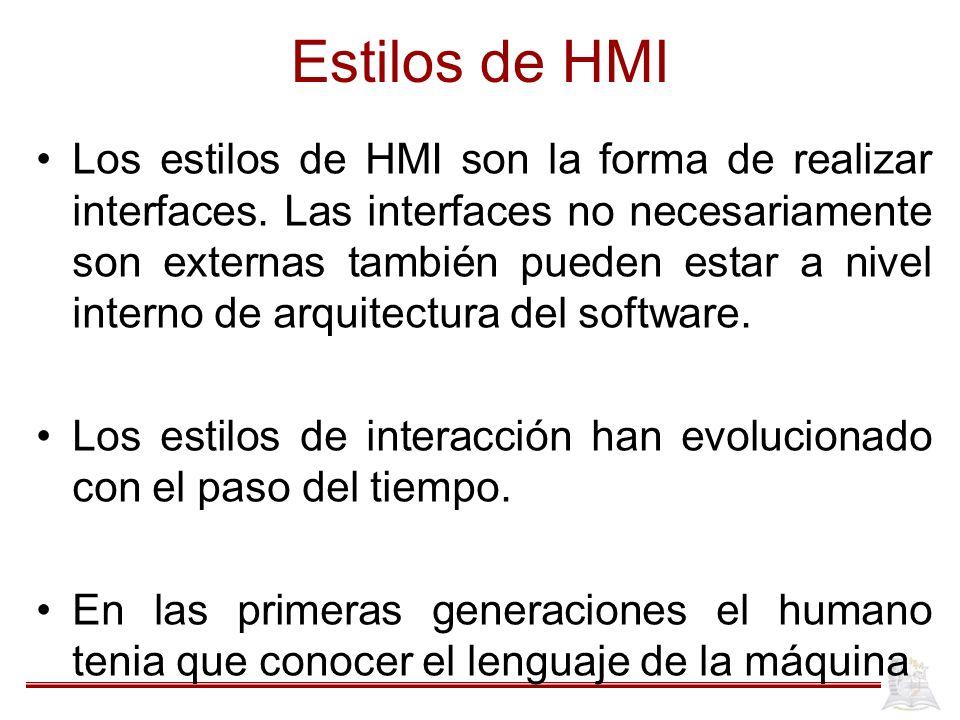 Estilos de HMI Los estilos de HMI son la forma de realizar interfaces.