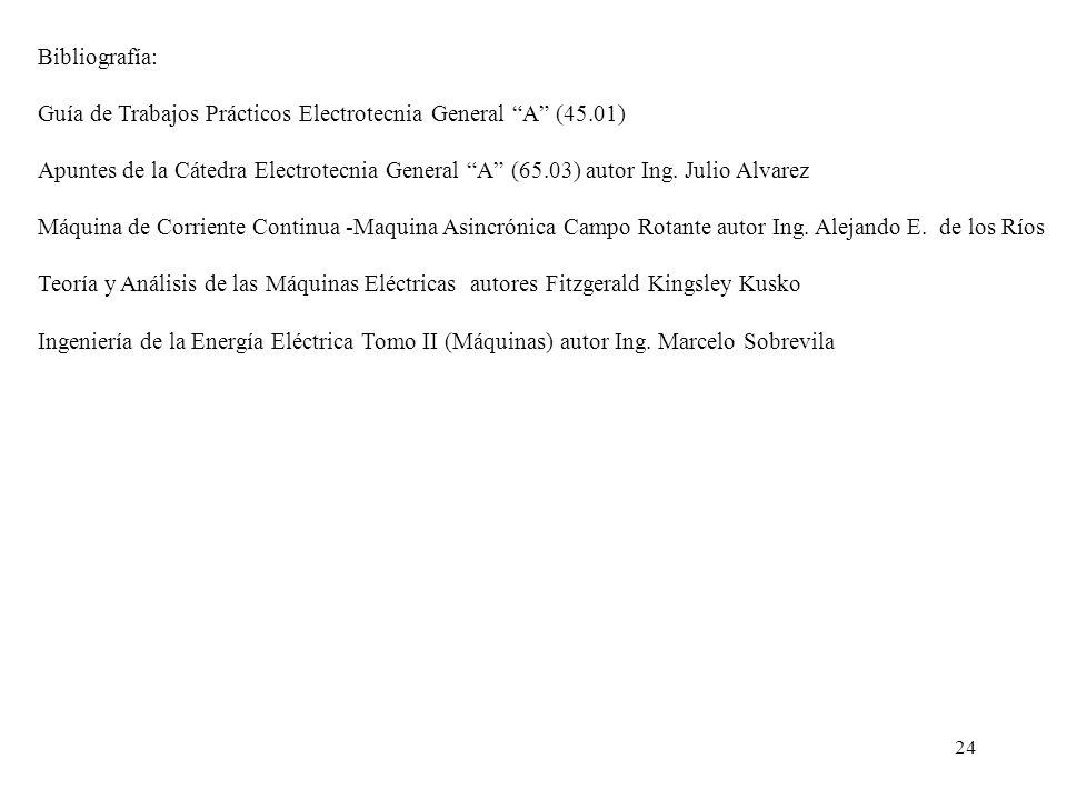 24 Bibliografía: Guía de Trabajos Prácticos Electrotecnia General A (45.01) Apuntes de la Cátedra Electrotecnia General A (65.03) autor Ing. Julio Alv