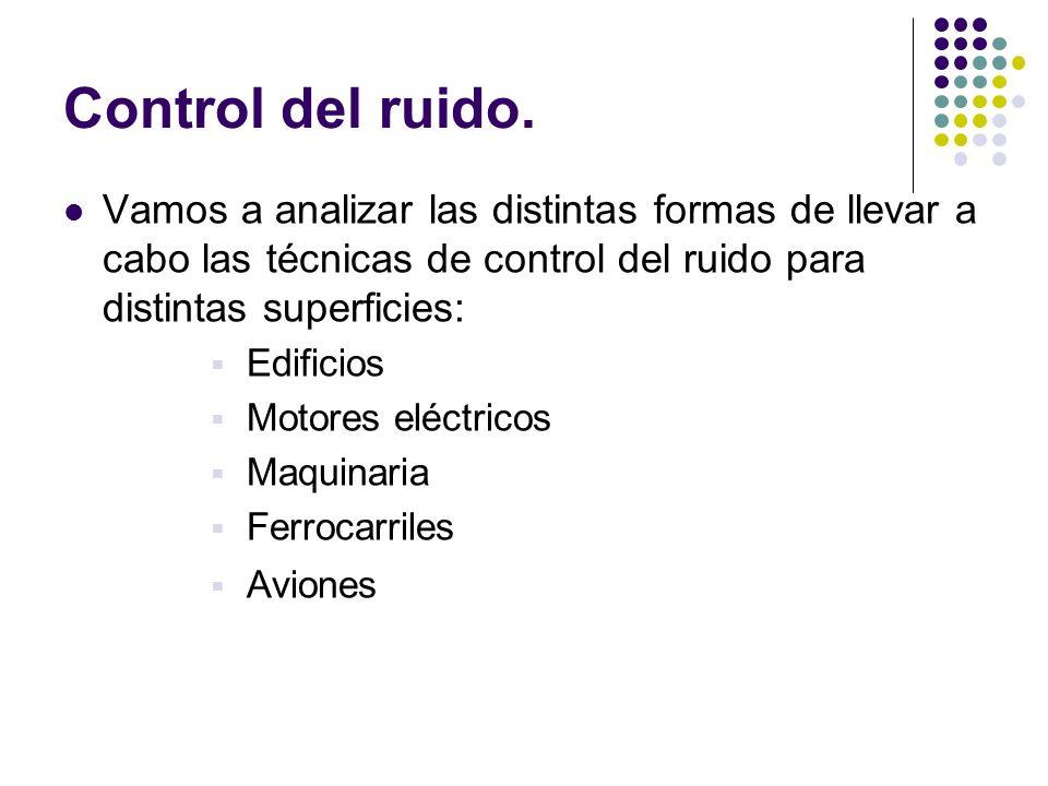 Control del ruido. Vamos a analizar las distintas formas de llevar a cabo las técnicas de control del ruido para distintas superficies: Edificios Moto