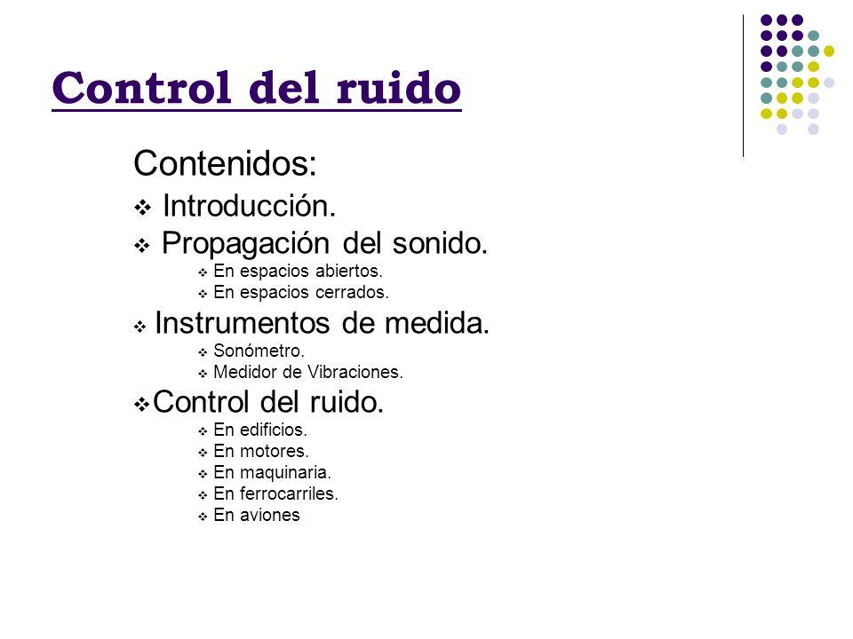 Control del ruido Contenidos: Introducción. Propagación del sonido. En espacios abiertos. En espacios cerrados. Instrumentos de medida. Sonómetro. Med