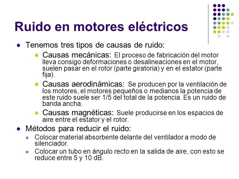 Ruido en motores eléctricos Tenemos tres tipos de causas de ruido: Causas mecánicas: El proceso de fabricación del motor lleva consigo deformaciones o
