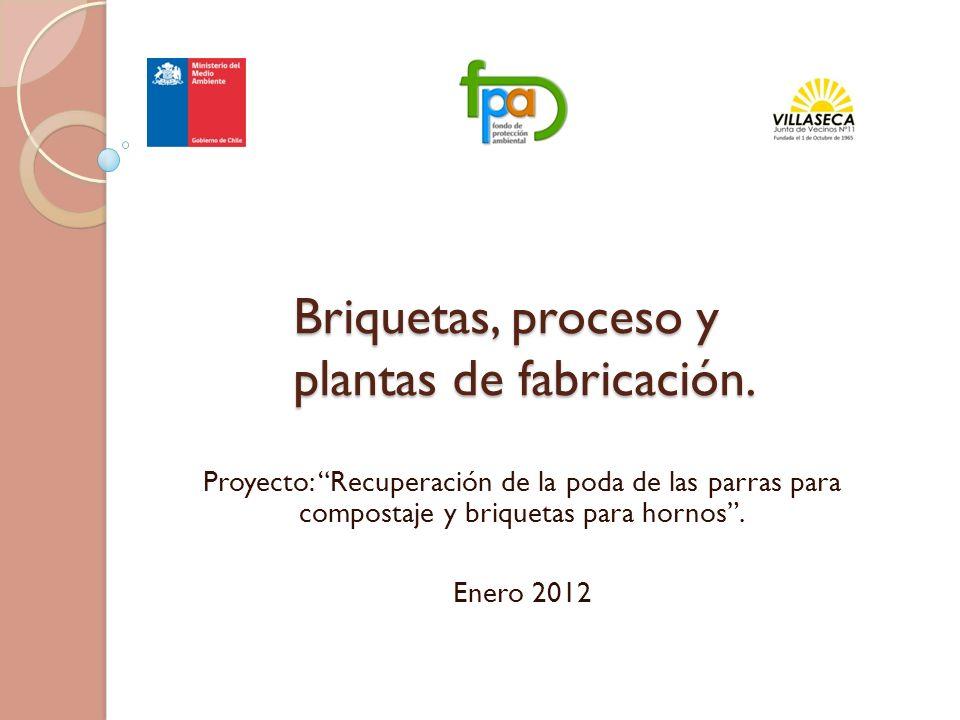 Briquetas, proceso y plantas de fabricación. Proyecto: Recuperación de la poda de las parras para compostaje y briquetas para hornos. Enero 2012
