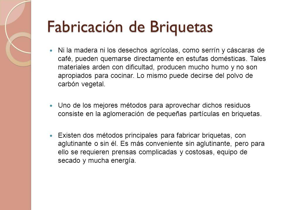 Fabricación de Briquetas Ni la madera ni los desechos agrícolas, como serrín y cáscaras de café, pueden quemarse directamente en estufas domésticas. T