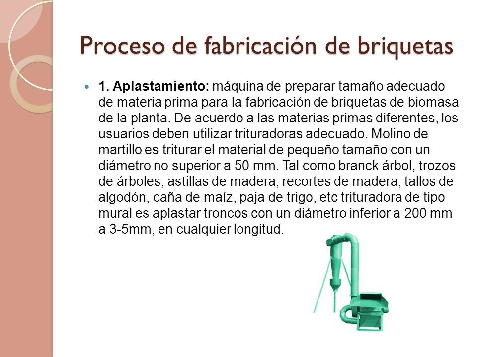 Proceso de fabricación de briquetas 1. Aplastamiento: máquina de preparar tamaño adecuado de materia prima para la fabricación de briquetas de biomasa