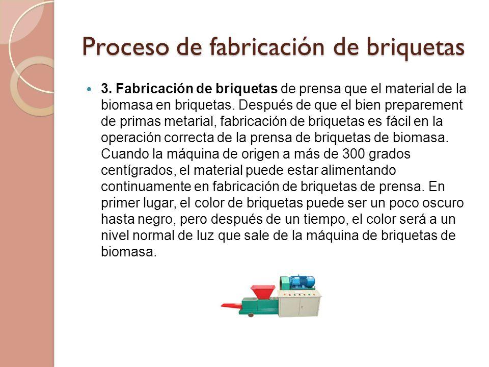 Proceso de fabricación de briquetas 3. Fabricación de briquetas de prensa que el material de la biomasa en briquetas. Después de que el bien prepareme