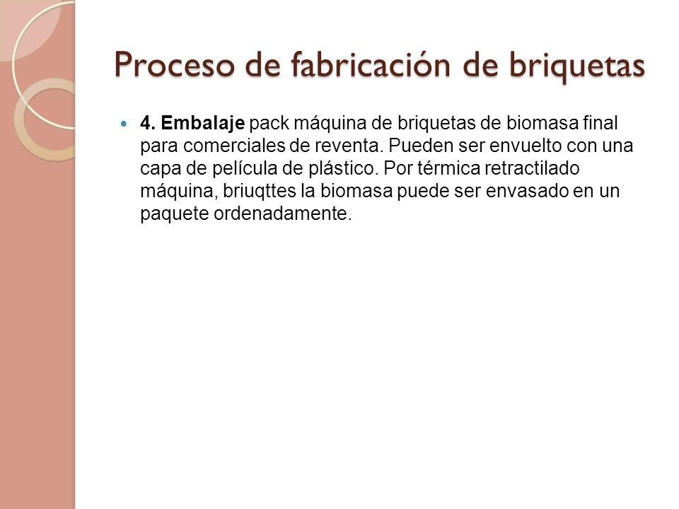 Proceso de fabricación de briquetas 4. Embalaje pack máquina de briquetas de biomasa final para comerciales de reventa. Pueden ser envuelto con una ca