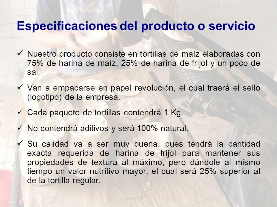 Especificaciones del producto o servicio Nuestro producto consiste en tortillas de maíz elaboradas con 75% de harina de maíz, 25% de harina de frijol y un poco de sal.