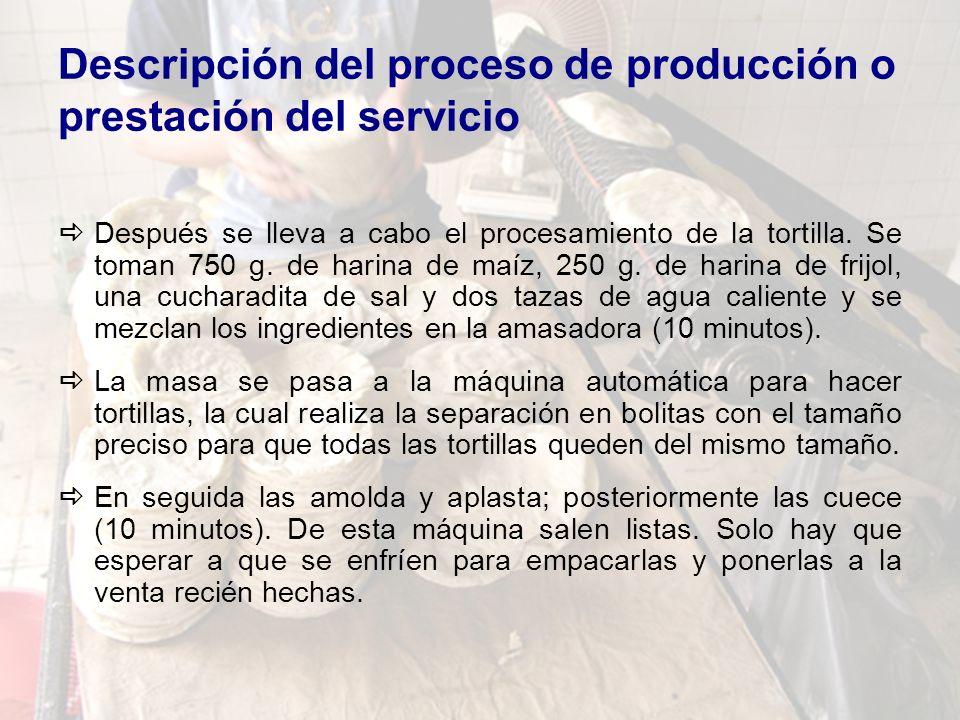 Descripción del proceso de producción o prestación del servicio Después se lleva a cabo el procesamiento de la tortilla. Se toman 750 g. de harina de