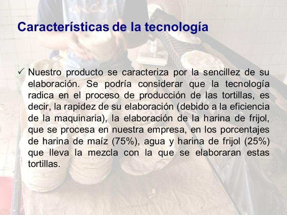 Características de la tecnología Nuestro producto se caracteriza por la sencillez de su elaboración. Se podría considerar que la tecnología radica en