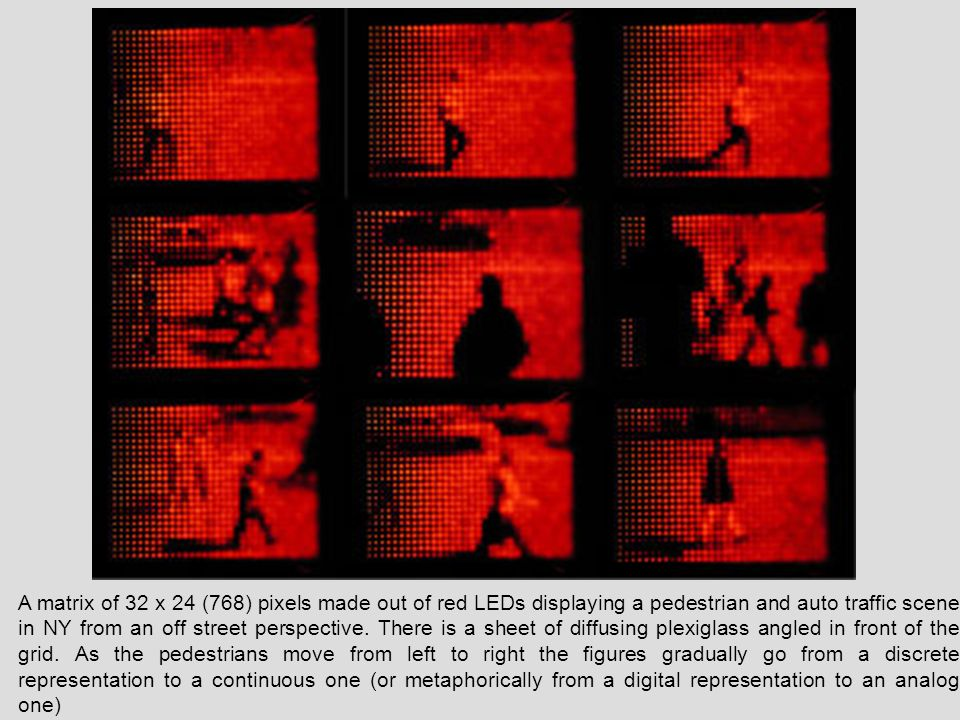 A matrix of 32 x 24 (768) pixels made out of red LEDs displaying a pedestrian and auto traffic scene in NY from an off street perspective. There is a